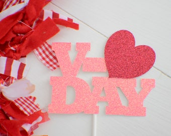 V-day cake topper, Valentine Cake topper, Valentines day cake topper, Valentines Day party, Valentines day, love cake topper