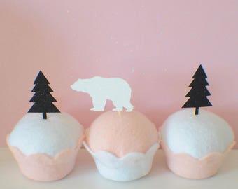 bear cupcake topper, tree cupcake topper, wild one cupcake topper, woodland cake topper, woodsman cupcake topper, lumberjack cupcake topper