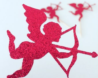 Cupcake Topper, Cupid Cupcake topper, Valentine's day Cupcake topper, Valentines day (12 toppers)