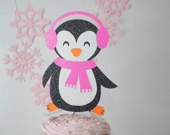 Penguin cake topper, penguin party, cake topper, winter wonderland cake topper