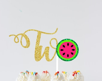 Watermelon Cake Topper, Two cake topper, summer cake topper, summer party, Melon cake topper, Watermelon party, second birthday cake topper