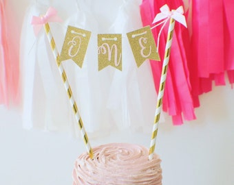 ONE Cake topper, Age cake topper, Gold one Cake Topper, Smash Cake Topper, First Birthday Cake Topper, happy birthday cake topper