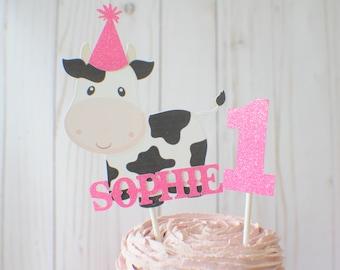 Cow cake topper, Barnyard Cake Topper, farm cake topper, animal cake topper, barn party, farm party, farm animals cake topper,