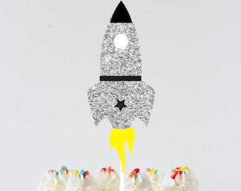 Rocket ship cake topper, rocket ship topper, astronaut cake topper, space cake topper, moon cake topper, birthday cake topper, smashcake