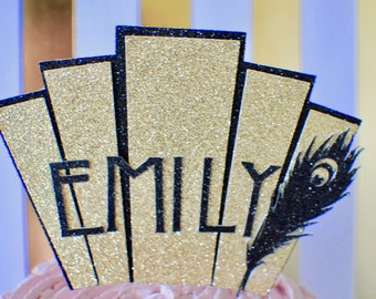Art deco cake topper, 1920 cake topper, 20's cake topper, art deco party, Gatsby cake topper