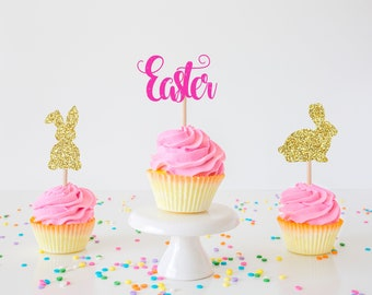 Bunny cupcake toppers, easter bunny cupcake toppers, easter, easter party, easter cupcake topper, easter decor