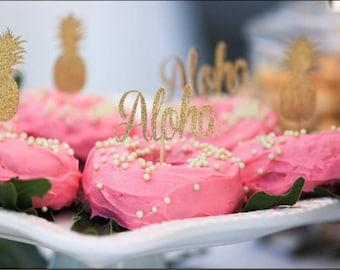 Aloha cupcake toppers, Hawaiian cupcake toppers, luau cupcake toppers, Luau party, Hawaii Party, pineapple cupcake toppers