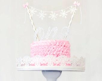 Snowflake cake topper, winter wonderland cake topper, smash cake topper, first birthday cake topper, one cake topper