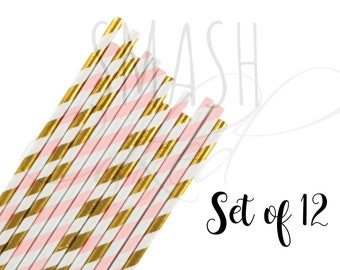 Gold and Light Pink paper straws, Little pumpkin party, pumkin straws, paper straws