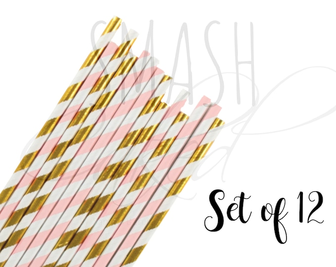 Featured listing image: Gold and Light Pink paper straws, Little pumpkin party, pumkin straws, paper straws