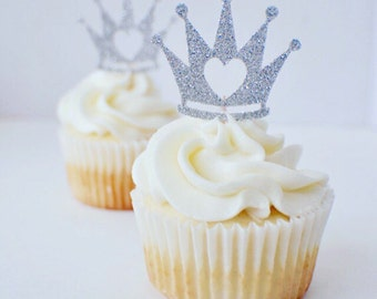 Princess Cupcake Topper, princess party, crown cupcake topper, tiara cupcake topper