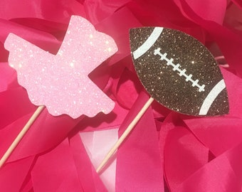 Gender reveal cupcake toppers, football or tutu gender reveal cupcake topper, boy or girl cupcake toppers, He or She cupcake toppers