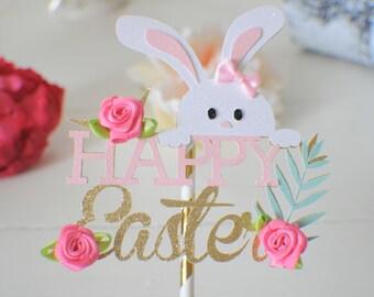 Bunny Cake Topper, Easter cake topper, Happy easter cake topper, easter bunny cake topper