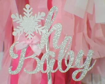 Oh baby snowflake cake topper, Winter Wonderland cake topper,cake topper, Oh baby cake topper, winter wonderland babyshower