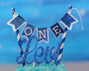 Name Cake Topper, First birthday cake topper,Navy and silver cake topper, Name topper, smashcake topper