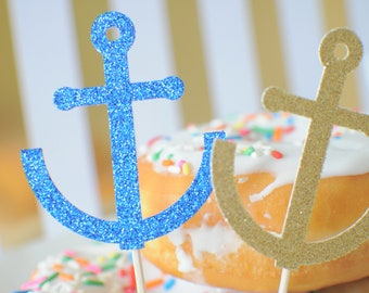 Anchor cupcake Topper, sea life cupcake topper, pirate cupcake topper, nautical cupcake topper, cupcake topper