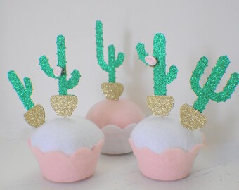 Cactus cupcake topper, Cactus decoration, cacti cupcake topper, boho cupcake topper, Arizona Chic cupcake topper (12 toppers)