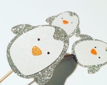 Penguin cupcake topper, penguin party, cupcake topper, winter wonderland cupcake topper