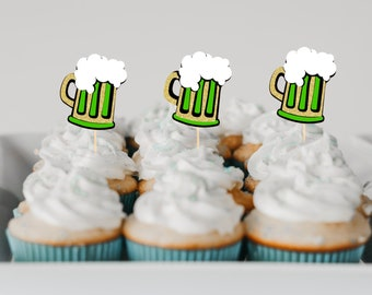 Beer mug cupcake toppers, Beer cupcake toppers, st patricks day cupcake topper, green beer cup caketopper, Beerfest cupcake toppers