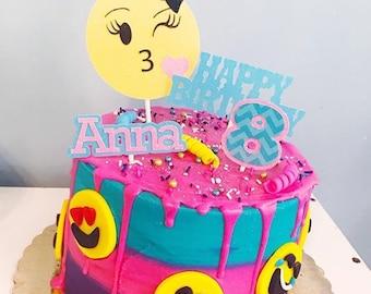 Emoji Cake Topper Party Smiley 80s