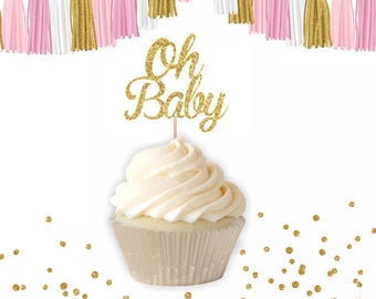 Oh Baby Cupcake Topper, baby shower Cupcake topper, Baby sprinkle cupcake topper