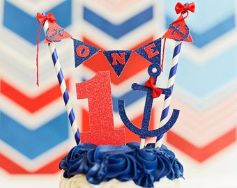 Nautical cake topper, nautical party, anchor cake topper, nautical smash cake toppe, anchors away party, sailor cake topper, sailor party