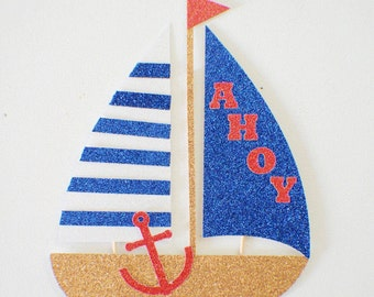Boat cake topper, sailboat cake topper, Nautical cake topper, nautical party, Anchor cake topper, Nautical party decor