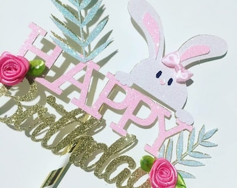 Bunny Cake Topper, Easter cake topper, birthday cake topper, smashcake topper, bunny party