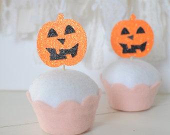Pumpkin Cupcake topper, Halloween cupcake, Halloween Party, jack 'o lantern cupcake topper