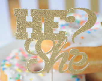 Gender reveal cupcake toppers, gender reveal party, boy or girl cupcake toppers, He or She cupcake toppers (12 toppers)