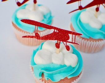 Airplane cupcake topper, vintage airplane cupcake topper, cupcake topper, in the air party, airplane party