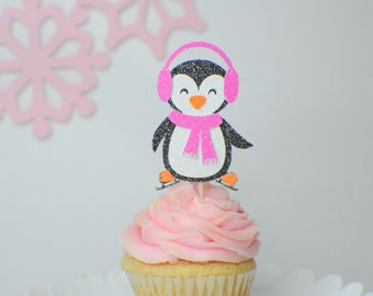Penguin cupcake topper, penguin party, cupcake topper, winter wonderland cupcake topper, iceskate cupcake topper