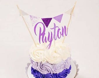 Name Cake topper, Cake topper with name, Lavender cake topper, smashcake topper, cake topper for girl, ombre cake topper
