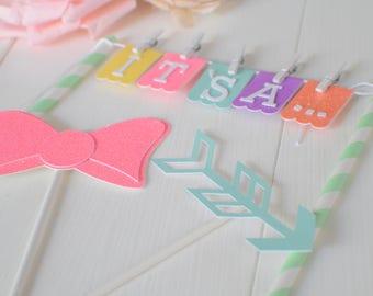 Gender reveal Cake Topper, gender reveal party, baby shower cake topper, cake topper, new baby cake topper