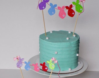 Fish Cake topper, gone fishing cake topper, fish party