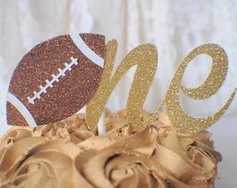 ONE Cake topper, football cake topper, Gold one Cake Topper, Smash Cake Topper, First Birthday Cake Topper