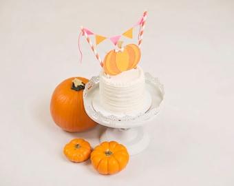 Pumpkin Cake Topper, Halloween Cake topper, Pink and orange pumpkin cake topper