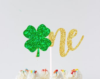 St. Patricks Day Cake Topper, One Cake Topper, Shamrock cake topper, St. Patrick's Day, lucky one cake topper, first birthday cake topper