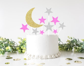 Twinkle little star cake topper, First birthday cake topper, ONE Smash Cake Set, star cake topper, babyshower cake topper, stars cake topper