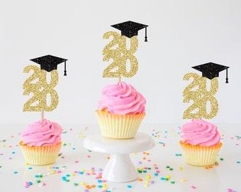 Graduation cupcake topper, grad cupcake topper, graduate decoration, prom, gold graduation topper, cupcake topper, prom cupcake topper