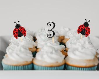 Ladybug Cupcake topper, ladybug cupcake pick, Birthday cupcake topper,Ladybug party, baby shower, Ladybug baby shower