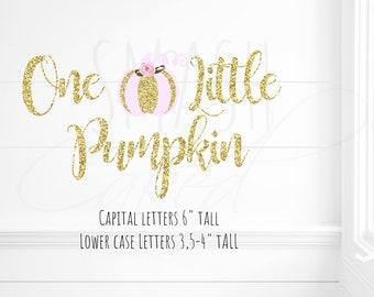One Little pumpkin Banner, pink pumpkin  banner, Pink pumpkin party, Little pumpkin party, gold pumkin banner topper, pumpkin smash cake