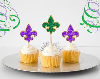 Mardi gras cupcake topper, fleur de lis cupcake topper, carnival cupcake topper, cupcake topper, mardi gras