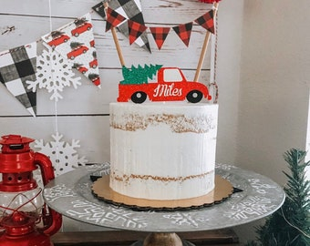 Christmas cake topper, truck with tree cake topper, rustic cake topper, red truck cake topper
