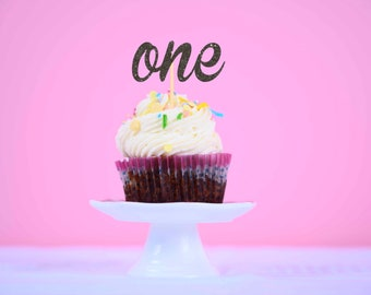 one cupcake topper, first birthday cupcake topper, age cupcake topper, cupcake topper, first birthday cupcake topper