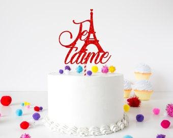 Je t'aime cake topper, Paris cake topper, valentines cake topper, first birthday cake topper, smashcake topper, Valentine
