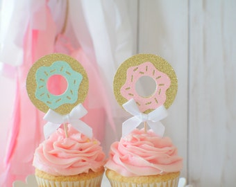 Donut cupcake topper, Donut grow up cupcake topper, Donut party, donut first birthday, cupcake topper, donut picks