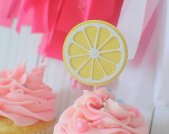 Lemon cupcake topper, Lemonade cupcake Topper, Lime cupcake topper, lemonade party, tutti frutti cupcake topper