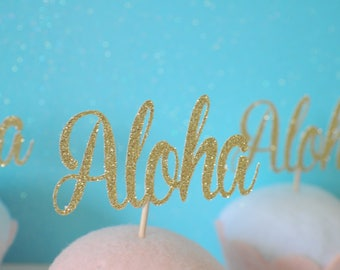 Aloha cupcake toppers, Hawaiian cupcake toppers, luau cupcake toppers, Luau party, Hawaii Party, Tropical cupcake toppers, Aloha