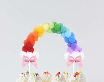 Rainbow Cake Topper, rainbow, rainbow party, shamrock cake topper, pom pom cake topper, pom pom rainbow cake topper